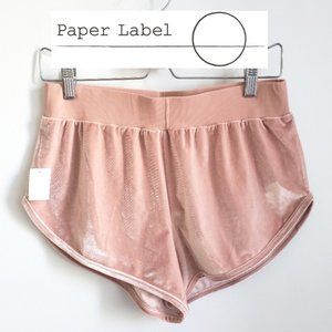 Paper Label Pink Velour High Waist Shorts Small